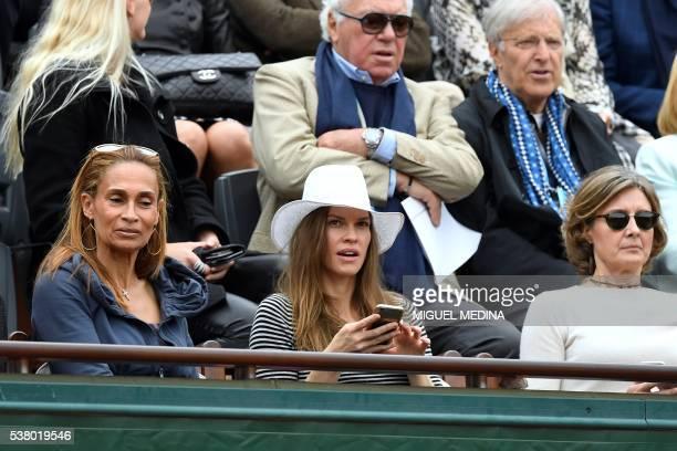 US actress Hilary Swank attends the women's final match between US player Serena Williams and Spain's Garbine Muguruza at the Roland Garros 2016...