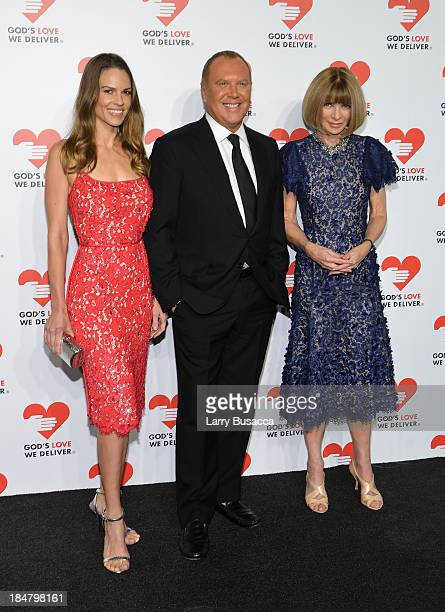 Actress Hilary Swank Designer Michael Kors and Vogue editorinchief Anna Wintour attend God's Love We Deliver 2013 Golden Heart Awards Celebration at...