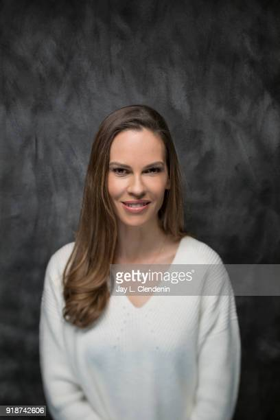 Actress Hilary Swank from the film 'What They Had' is photographed for Los Angeles Times on January 21 2018 in the LA Times Studio at Chase Sapphire...
