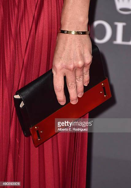 Actress Hilary Swank handbag detail attends The Los Angeles Philharmonic 2015/2016 Season Opening Night Gala at the Walt Disney Concert Hall on...