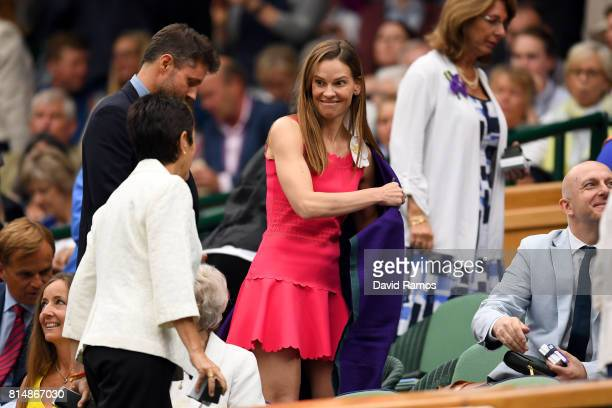 Actress Hilary Swank looks on from the centre court royal box prior to the Ladies Singles final between Venus Williams of The United States and...