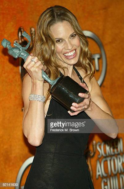 Actress Hilary Swank poses in the press room with her Actor for Outstanding Performance by a Female Actor in a Leading Role for Million Dollar Baby...
