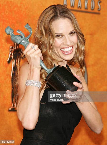 "Actress Hilary Swank poses in the press room with her Actor for Outstanding Performance by a Female Actor in a Leading Role for ""Million Dollar Baby""..."