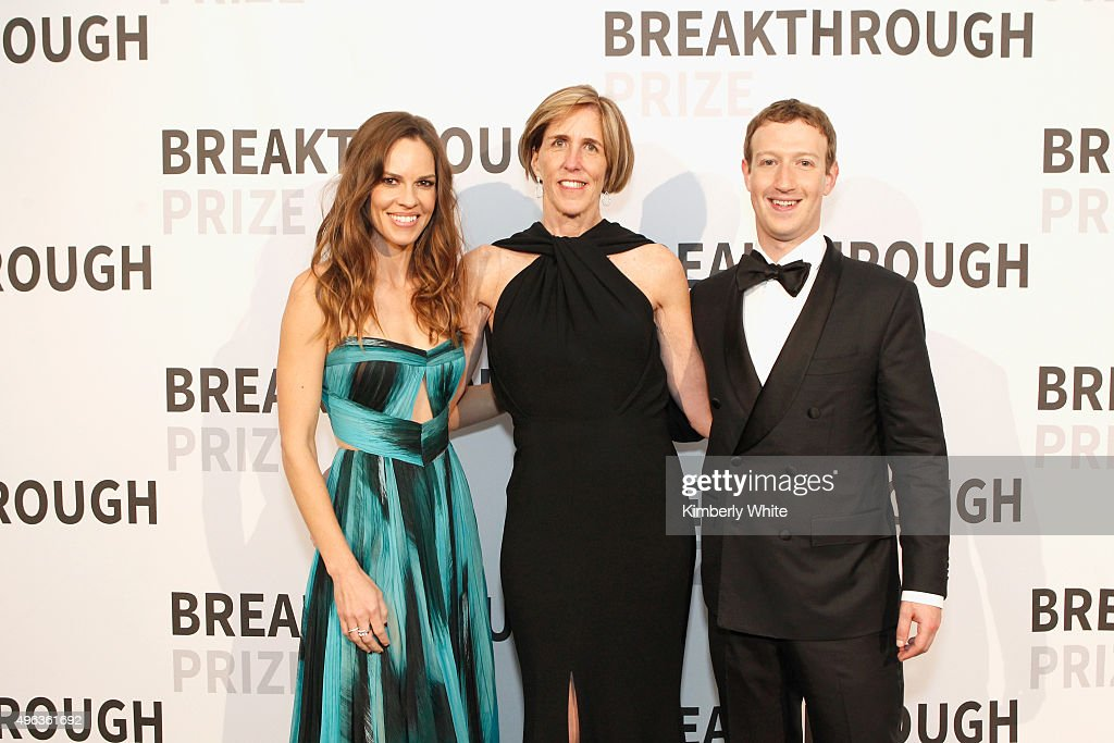 Actress Hilary Swank, professor Helen Hobbs and Mark Zuckerberg attend the 2016 Breakthrough Prize Ceremony on November 8, 2015 in Mountain View, California.