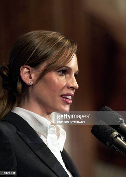 Actress Hilary Swank speaks during the National Press Club's Newsmaker Program February 11, 2004 at the Press Club in Washington, DC. The program...