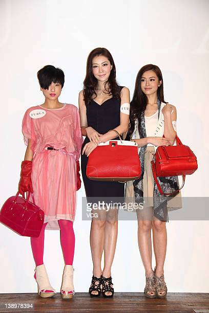 Actress Hilary Tsui model Lynn Xiong and model Janice Man attend Furla Spring Summer 2012 Preview at Hong Kong Arts Centre on February 14 2012 in...