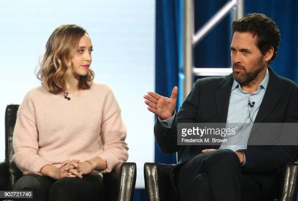 Actress Hillary Anne Matthews and executive producer Matt Tarses of the television show Alex Inc speak onstage during the ABC Television/Disney...