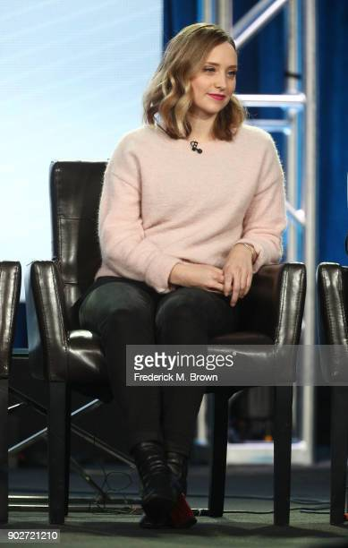 Actress Hillary Anne Matthews of the television show Alex Inc speaks onstage during the ABC Television/Disney portion of the 2018 Winter Television...
