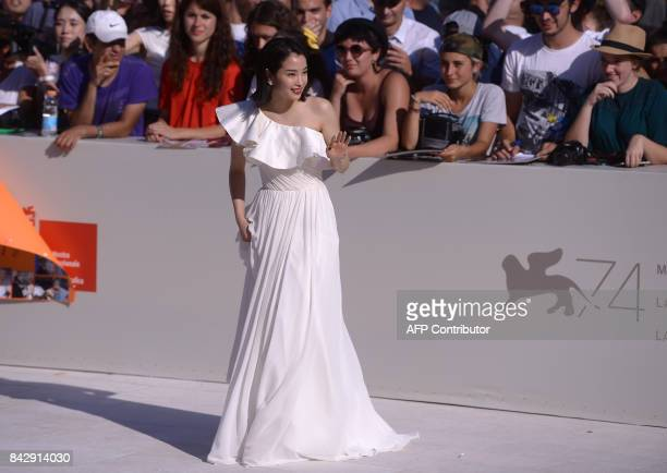Actress Hirose Suzu attends the Premiere of the movie 'Sandome No Satsujin' presented in competition at the 74th Venice Film Festival on September 5...
