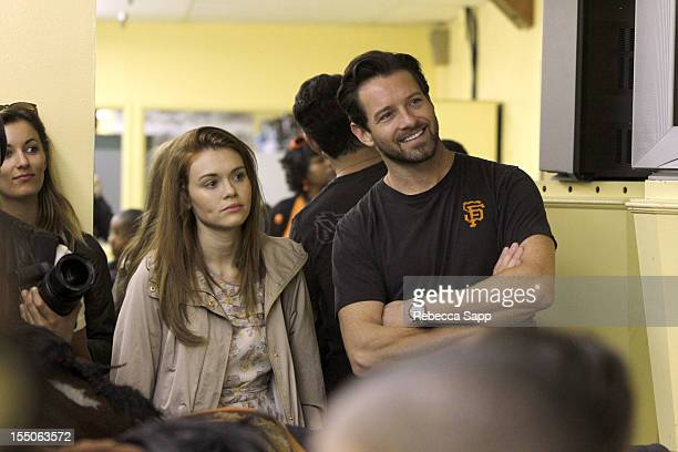 Actress Holland Roden and actor Ian Bohen at Children Mending Hearts Kids' Breakfast at the Track Event at Santa Anita Park on October 31 2012 in...