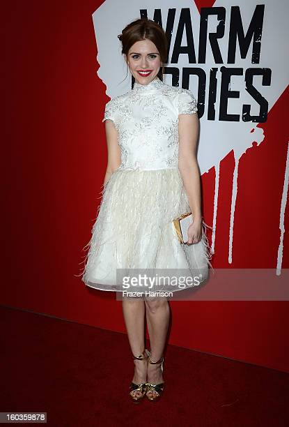 Actress Holland Roden arrives at the premiere of Summit Entertainment's Warm Bodies at ArcLight Cinemas Cinerama Dome on January 29 2013 in Hollywood...