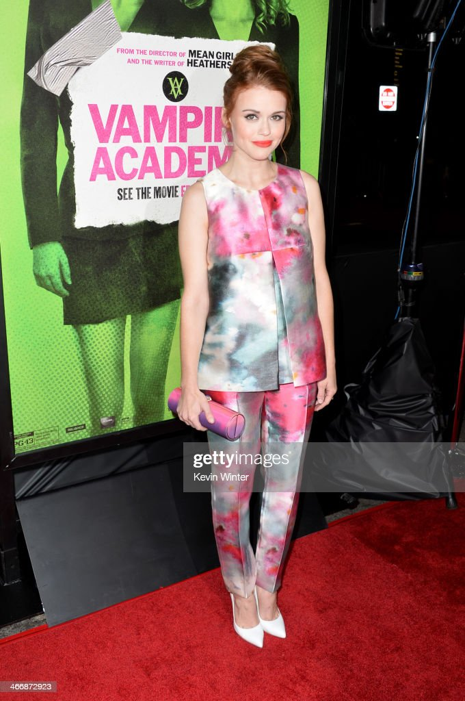 Actress Holland Roden attends the premiere of The Weinstein Company's 'Vampire Academy' at Regal Cinemas L.A. Live on February 4, 2014 in Los Angeles, California.