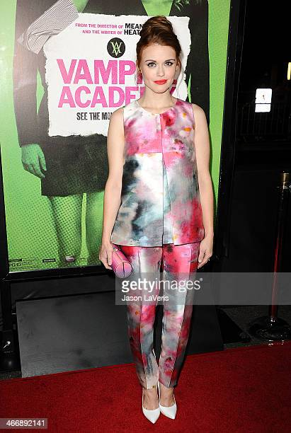 Actress Holland Roden attends the premiere of 'Vampire Academy' at Regal Cinemas LA Live on February 4 2014 in Los Angeles California