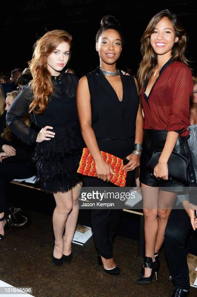 Actress Holland Roden musician Lianne La Havas and actress Kelsey Chow attend the DKNY Women's Spring 2013 fashion show during MercedesBenz Fashion...