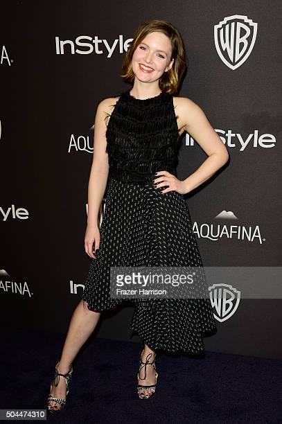Actress Holliday Grainger attends InStyle and Warner Bros 73rd Annual Golden Globe Awards PostParty at The Beverly Hilton Hotel on January 10 2016 in...