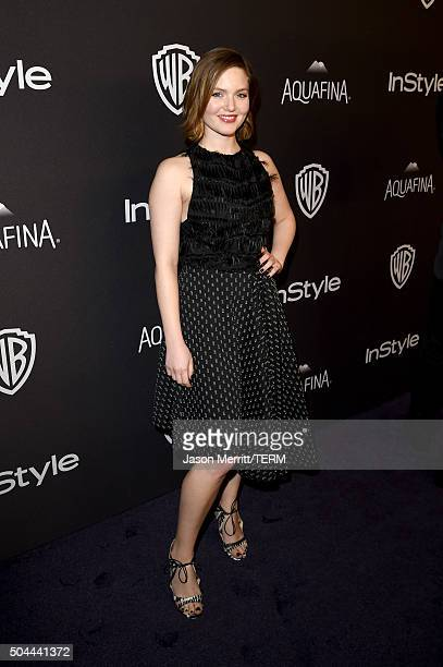 Actress Holliday Grainger attends The 2016 InStyle And Warner Bros 73rd Annual Golden Globe Awards PostParty at The Beverly Hilton Hotel on January...