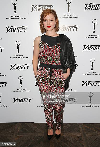 Actress Holliday Grainger attends the 50th anniversary celebration of the Karlovy Vary International Film Festival at Soho House on April 23 2015 in...