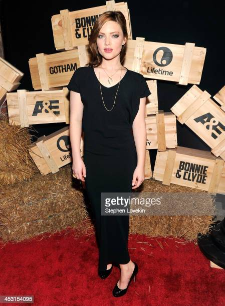 Actress Holliday Grainger attends the AE Premiere Party for Bonnie Clyde at Heath at the McKittrick Hotel on December 2 2013 in New York City