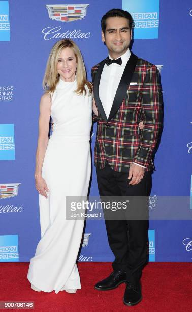 Actress Holly Hunter and actor Kumail Nanjiani attend the 29th Annual Palm Springs International Film Festival Awards Gala at Palm Springs Convention...