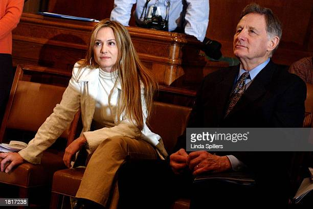 Actress Holly Hunter and former Senator Birch Bayh attend a news conference defending women's educational and athletic opportunities as protected...