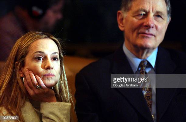 Actress Holly Hunter and former senator Birch Bayh listen to Geena Davis Oscarwinning actress during the news conference to urge protection of...