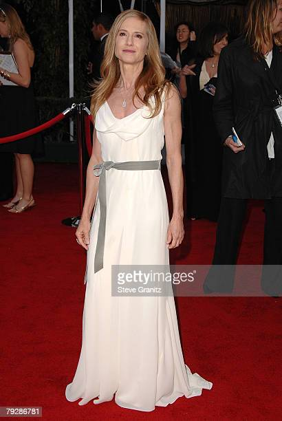 Actress Holly Hunter arrives to the 14th Annual Screen Actors Guild Awards at the Shrine Auditorium on January 27 2008 in Los Angeles California