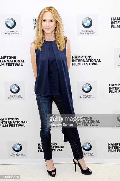 Actress Holly Hunter attends the Conversation with Holly Hunter during the Hamptons International Film Festival 2016 at East Hampton Middle School on...