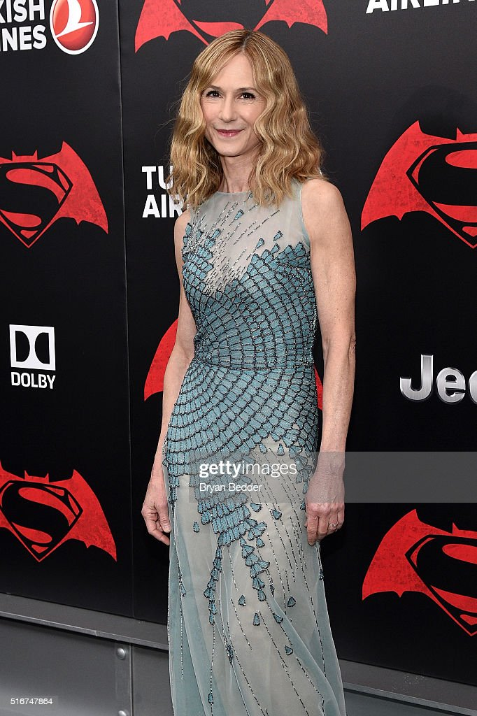 Actress Holly Hunter attends the launch of Bai Superteas at the Batman v Superman premiere on March 20, 2016 in New York City.