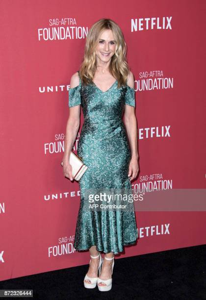 Actress Holly Hunter attends the SAGAFTRA Foundations Patron of the Artists Awards on November 9 in Beverly Hills California / AFP PHOTO / VALERIE...
