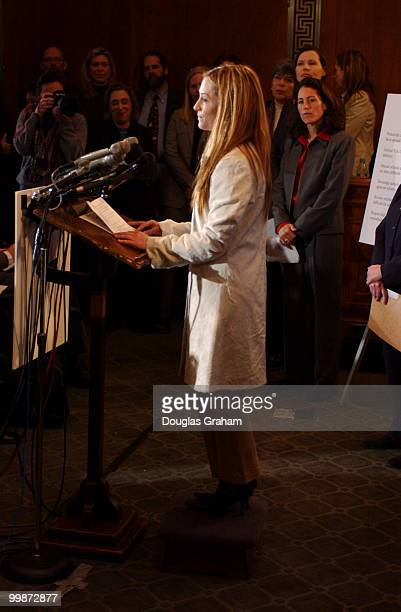 Actress Holly Hunter during the news conference to urge protection of athletic opportunities for females and to issue a minority report from the...