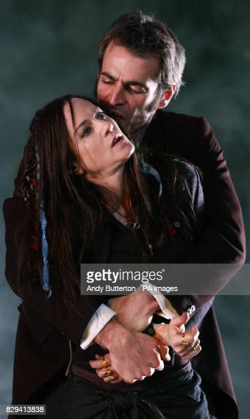 US actress Holly Hunter makes her West End debut as Hester Swaine and Gordon MacDonald as Carthage Kilbride during a photocall for Marina Carr's play...