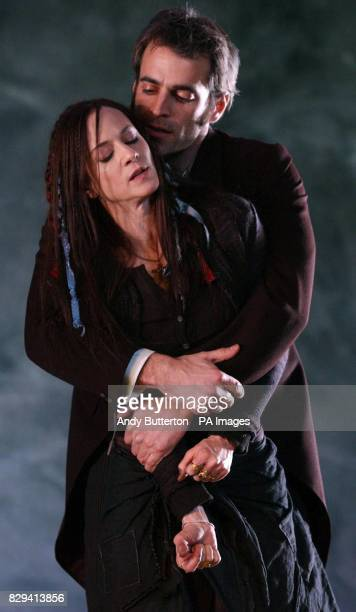 US actress Holly Hunter makes her West End debut as Hester Swane and Gordon MacDonald as Carthage Kilbride during a photocall for Marina Carr's play...