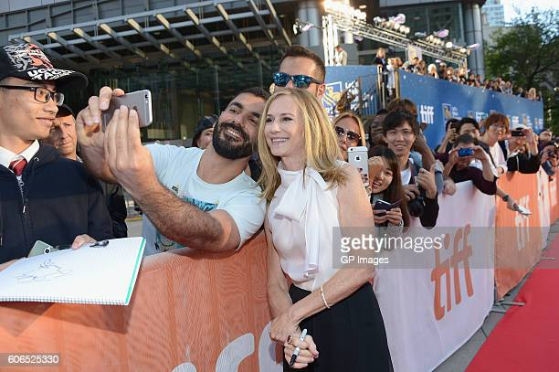 Actress Holly Hunter poses with fans at the 'Strange Weather' Premiere during the 2016 Toronto International Film Festival at Roy Thomson Hall on...