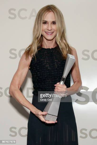 Actress Holly Hunter poses with Icon Award backstage at Trustees Theater during the 20th Anniversary SCAD Savannah Film Festival on October 28, 2017...
