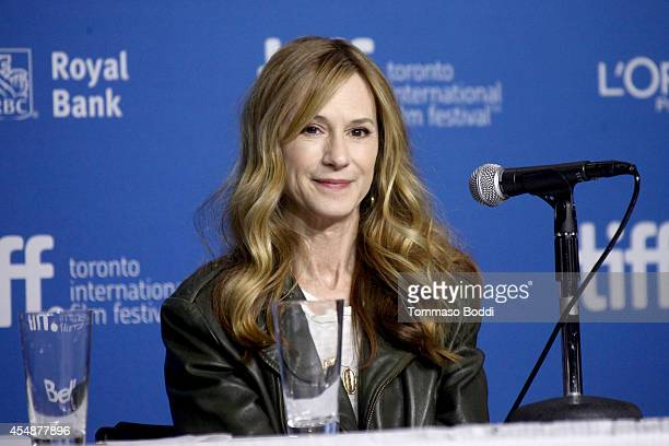 """Actress Holly Hunter speaks at the """"Manglehorn"""" press conference during the 2014 Toronto International Film Festival at TIFF Bell Lightbox on..."""