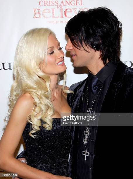 Actress Holly Madison and Magician Criss Angel arrive at Criss Angel Believe Las Vegas Premiere inside Luxor Hotel and Casino on October 31 2008 in...