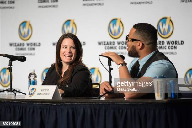 Actress Holly Marie Combs talk with moderator Victor Dandridge during The Charmed Life A conversation with Holly Marie Combs and Brian Krause session...