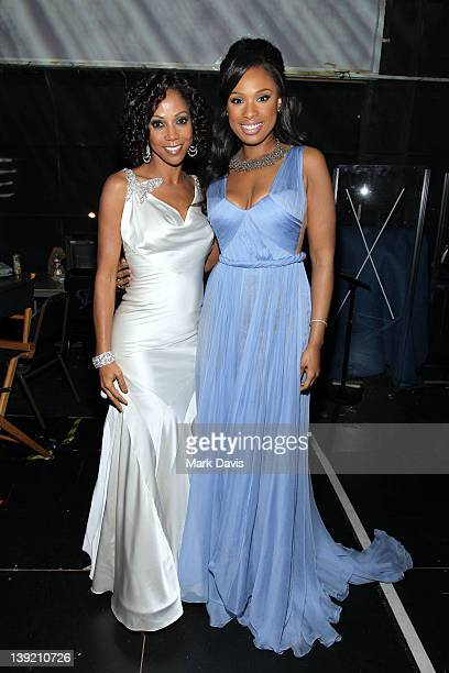 Actress Holly Robinson Peete and Singer Jennifer Hudson attend the 43rd NAACP Image Awards held at The Shrine Auditorium on February 17 2012 in Los...