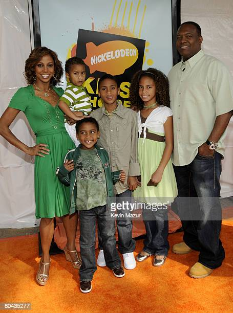 Actress Holly Robinson Peete Former NFL Player Rodney Peete and guests arrive on the red carpet at Nickelodeon's 2008 Kids' Choice Awards held at the...
