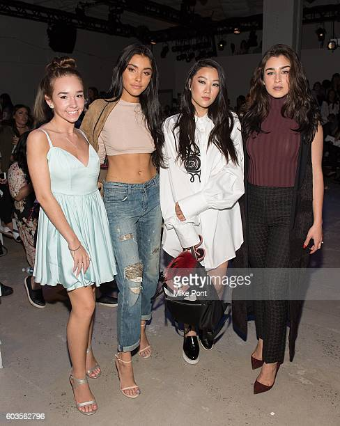 Actress Holly Taylor Madison Beer actress Arden Cho and Lauren Jauregui of the musical group Fifth Harmony attend the Leanne Marshall fashion show...