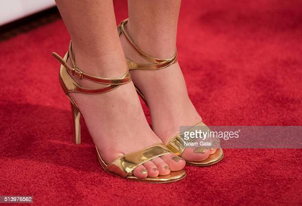 Actress Holly Taylor shoe detail attends 'The Americans' season 4 premiere on March 5 2016 in New York City