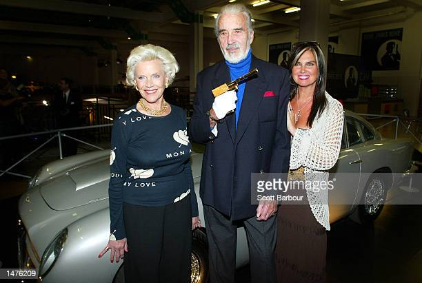 Actress Honor Blackman who played the part of Pussy Galore in the film 'Goldfinger' actor Christopher Lee who played the part of Scaramanga in the...