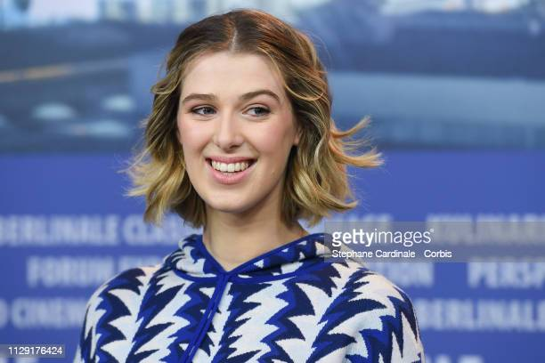 Actress Honor Swinton Byrne attends the The Souvenir press conference during the 69th Berlinale International Film Festival Berlin at Grand Hyatt...