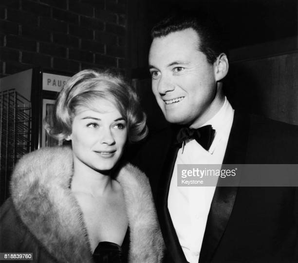 Actress Hope Lange and her husband director and producer Alan J Pakula at a black tie screening of the film 'Captain Newman MD' at the Directors'...
