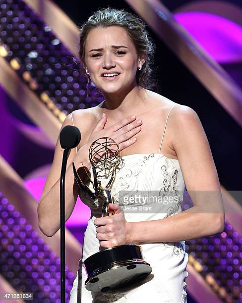 Actress Hunter King accepts Outstanding Younger Actress in a Drama Series award for The Young and the Restless onstage during The 42nd Annual Daytime...