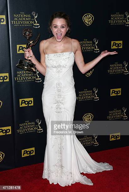 Actress Hunter King winner of the Outstanding Younger Actress in a Drama Series award for 'The Young and the Restless' poses in the press room during...