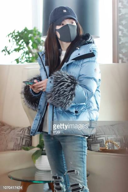 Actress Huo Siyan is seen at an airport on November 20 2018 in Beijing China Actress Huo Siyan cancelled the plan of attending the fashion brand...