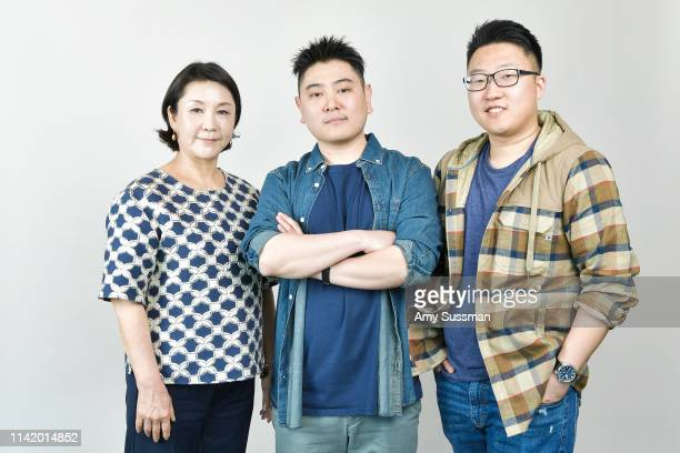 Actress Hyanghwa Lim codirectors writers and producers Julian Kim and Peter S Lee from 'Happy Cleaners' are photographed at the Los Angeles Asian...