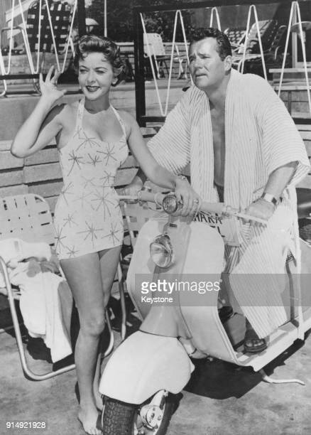 Actress Ida Lupino and her husband Howard Duff at a hotel during a movie shoot 19th December 1957