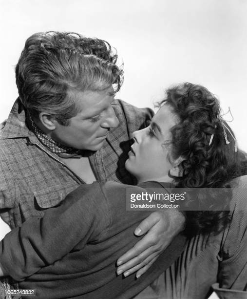 """Actress Ida Lupino and Jean Gabin, in a scene from the movie """"Moontide"""""""